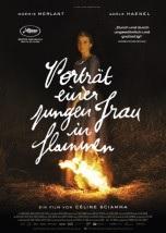 Filmplakat Porträt einer jungen Frau in Flammen